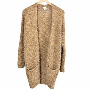 Debut Long Open Cardigan Sweater Pockets Tan M/L